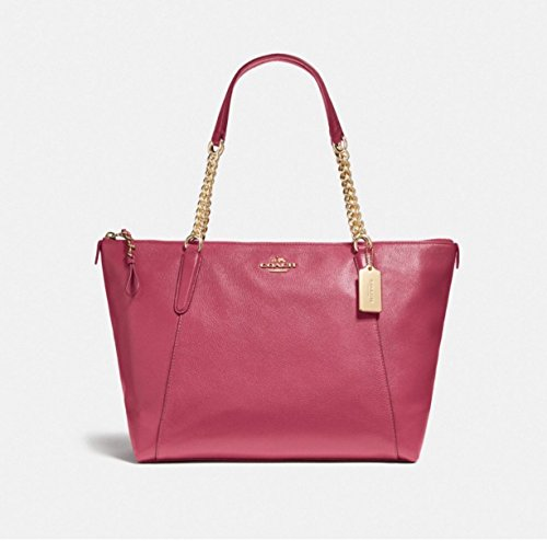 Coach Ava Chain pebble Leather Tote in Rogue F22211
