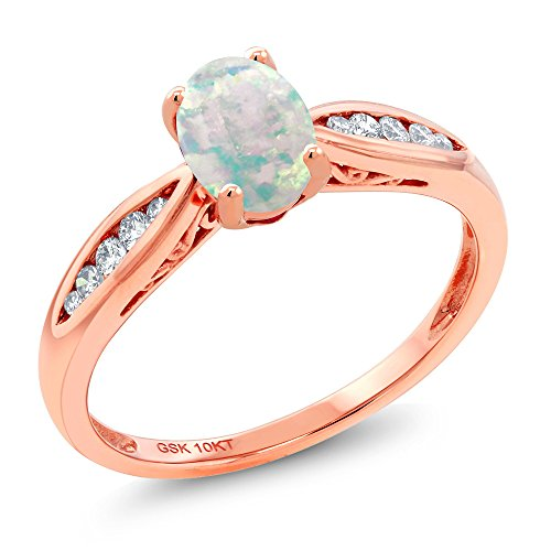 Cabochon 4 Prong - 10K Rose Gold Cabochon White Simulated Opal and Diamond Engagement Ring (0.70 Ct Available in size 5, 6, 7, 8, 9)