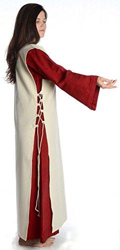 Damenkleid dunkelrot HEMAD mit Damen Baumwolle Dunkelrot S Skapulier XL Kleid mit beige Mittelalter Leinenstruktur rrPH4