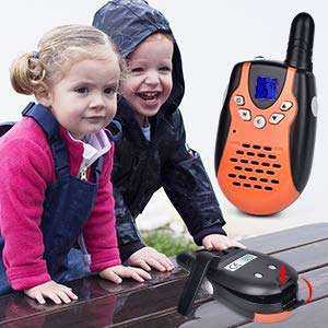 Swiftion Walkie Talkies for Kids Walkie Talkies for Child with Charger Batteries 22 Channel Walky Talky 0.5W FRS/GMRS Long Range 2 Way Radios (Orange, Pack of 2) by Swiftion (Image #4)