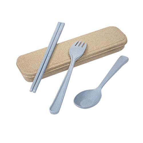 3PCS Portable Cutlery Blue Boreal Europe Style Healthy Eco-Friendly Wheat Straw Spoon Chopstick Fork Tableware set for Travel, Picnic, Camping or Just for Daily Use from Hello22