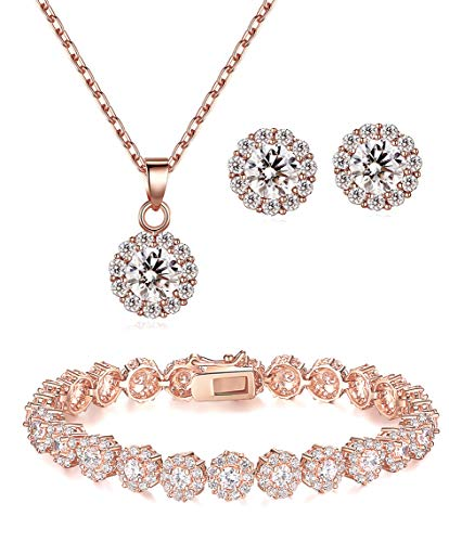 Lé Joli 18K Rose Gold Plated Round Cut Cubic Zirconia Bracelet, Necklace and Earrings Set (7.8 in. ()