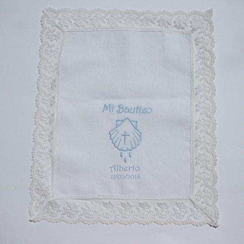 Pañuelo bautizo blanco en lino con puntilla tul bordado, personalizado con nombre y fecha/34 x 28 cm/
