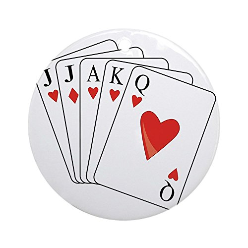 CafePress Euchre Playing Cards Round Holiday Christmas Ornament