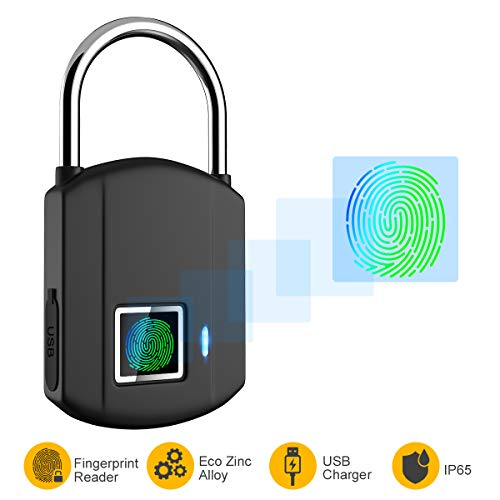Fingerprint Padlock, IP65 Waterproof Smart Lock keyless