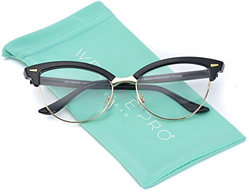 WearMe Pro - New Semi-Rimless Retro Cat Eye Fake - Glasses Eyes Prescription