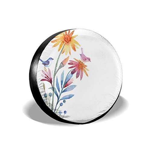 (GULTMEE Tire Cover Tire Cover Wheel Covers,Springtime Flowers with Birds Unusual Color Scheme Brush Effect,for SUV Truck Camper Travel Trailer Accessories(14,15,16,17 Inch) 17)