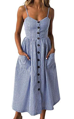Women's Sleeveless Spaghetti Straps Summer Flared Midi Skater Dress (XL, Striped)