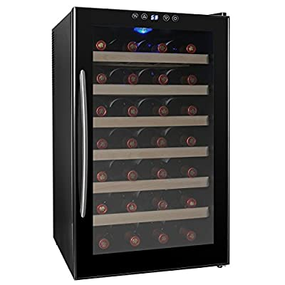 AKDY 28 Bottle Single Zone Thermoelectric Stainless Steel Freestanding Wine Cooler Cellar Chiller Refrigerator Fridge Quiet Operation