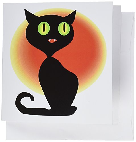 (3dRose Halloween Cute Black Cat - Greeting Cards, 6 x 6 inches, set of 6)
