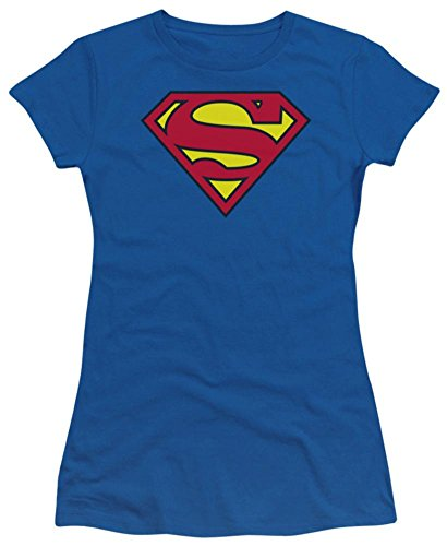 Batman Juniors T-shirt - DC Comics Superman Classic Shield Crop Sleeve Fitted Juniors T-Shirt