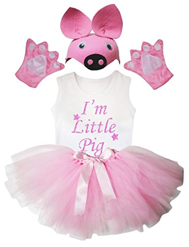 Three Little Pig Costumes (Petitebella I'm Little Pig Shirt Pink Hat Glove Skirt Girl 4pc Costume (3-4 Years))