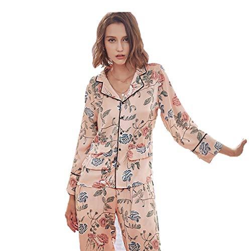 Ropa Camisón Seda Sexo De Pijama Moda E Domicilio Pink A Sensualidad Larga Sexy Y Solapa Set L Pantalones Pink Casual Manga Size Impresión color Invierno Servicio Mujer Otoño EqqYHO