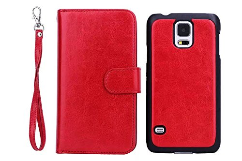 Galaxy S5 Wallet Case, GX-LV [Samsung Galaxy S5 Split Wallet Case] [Samsung Galaxy S5 Multi-functional Wallet Case] [Samsung Galaxy S5 card slot Wallet Case] Ultra-large Capacity Premium PU Leather Detachable Wrist Strap Pouch Purse Wallet Case Cover For Samsung Galaxy S5 / Galaxy SV / Galaxy S V / Galaxy i9600 With Free 1 GX-LV Screen Protectors and 1 Black Stylus and 1 Cleaning Cloth (Red)
