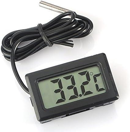 WINGONEER Monitor de Temperatura Digital LCD Termómetro con sonda Externa para el refrigerador y congelador Acuario -Black
