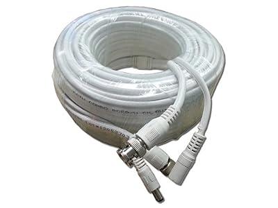 Aposonic A-XRG59100FT Coaxial RG-59 Video and Power Siamese Cable 100-Feet for HD-SDI, AHD, CVI, TVI, & Analog Cameras (White)