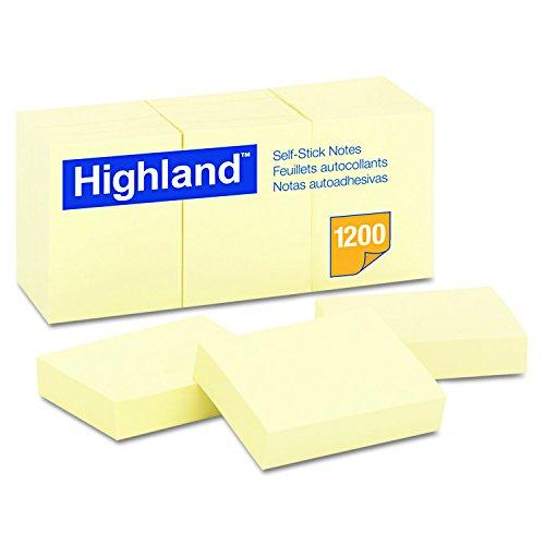 Notas autoadhesivas Highland 6539YW, 1 1/2 x 2, amarillo, 100 hojas (paquete de 12)