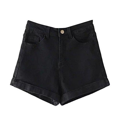 Pantaloni Donna di Jeans Corti Guiran Nero Alta Shorts Denim Pantaloncini Vita 8pBwAU