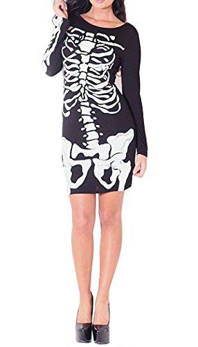 Womens Nicola Skeleton Bones Long Sleeved Tunic Dress frauen Skelett ...