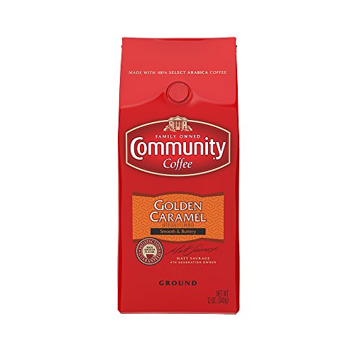 Community Coffee Golden Caramel Flavored Medium Roast Premium Ground 12 Oz Bag, Medium Full Body Smooth Buttery Taste, 100% Select Arabica Coffee Beans
