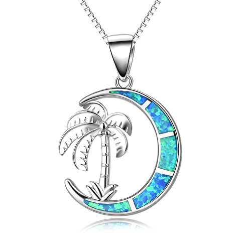 (SOULMEET Women Girls Sterling Silver Palm Tree Necklace, Jewelry Moon Necklace with Blue Simulated-Opal for)