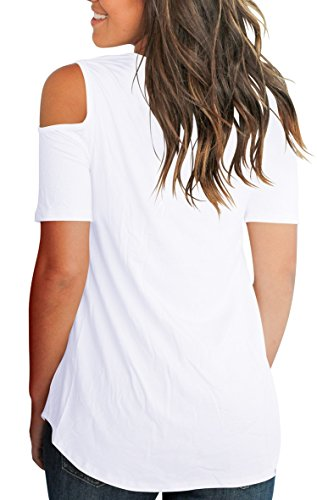 Smalnnie Cold Shoulder Tunic Tops for Women Plus Size 2018 Tee Shirts Cotton White 2XL by Smalnnie (Image #4)