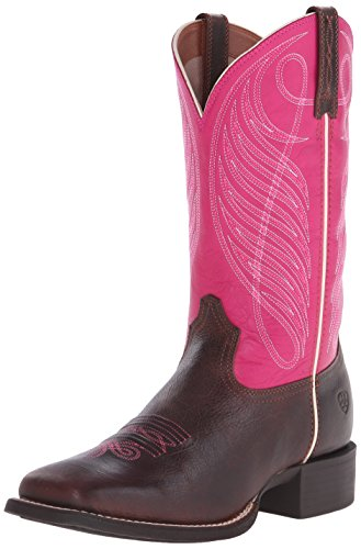 Ariat Women's Round Up Wide Square Toe Western Cowboy Boot, Wicker/Hot Pink, 8.5 M US
