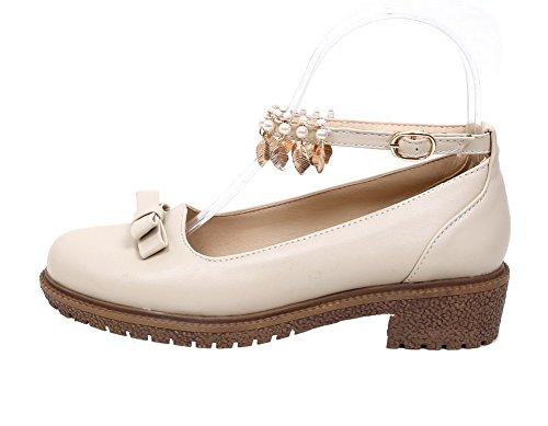 Chaussures Cuir Beige Légeres Unie Boucle Pu À Femme Talon Couleur Bas Agoolar ZCgfwqB
