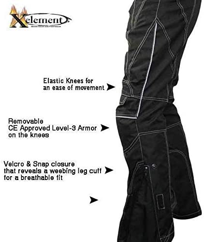 36 Xelement B4406 Mens Black Advanced X-Armored Tri-Tex White Stitched Fabric Motorcycle Pants