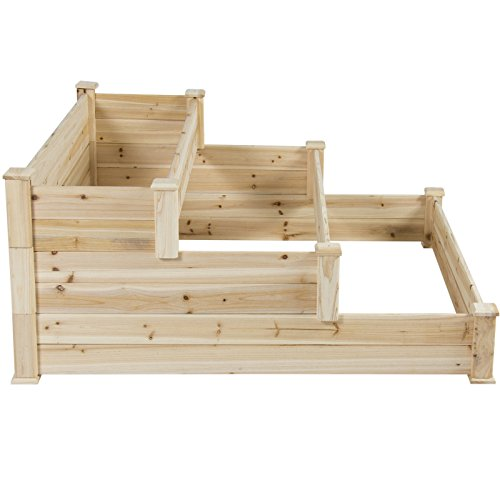 Cheap  4' x 4' Wooden Raised Garden Bed 3 Tier Planter Kit for..