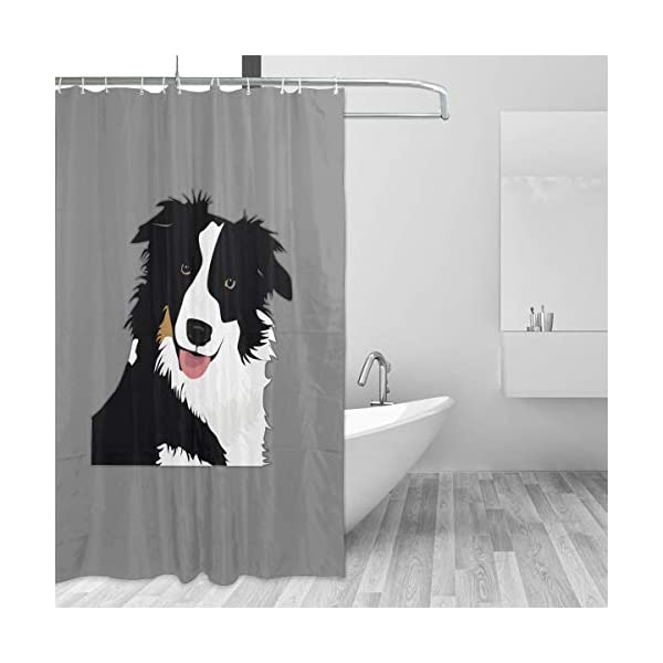 """Perfect Appearance Border Collie Shower Curtain 7-12 Grommet Holes Waterproof Thick Bathroom Plastic Shower Curtains 48"""""""" W X 72"""""""" H No Chemical Odor Rust Proof Grommets 2"""