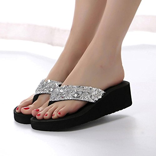 Price comparison product image AIMTOPPY HOT Sale,  Women's Summer Casual Sweet Bling Sequins Wedges Anti-Slip Sandals Slipper Slip-On Flip-flops shoes (US:8,  Sliver)