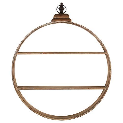 (Rivet Rustic Round Wood 2-Tier Shelf Floating Hanging Wall Unit- 30 Inch, Whitewashed Fir Veneer)