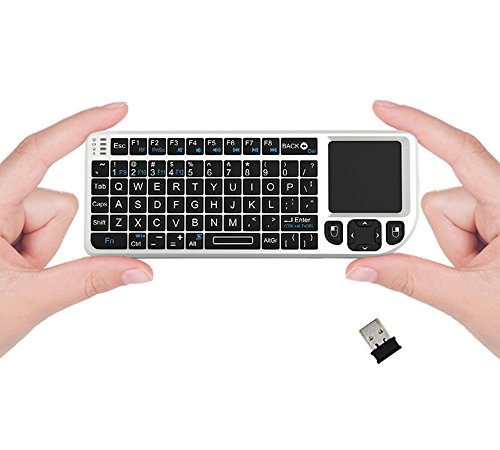FAVI FE01 2.4GHz Wireless USB Mini Keyboard w Mouse Touchpad, Laser Pointer - US Version (Includes Warranty) - White (FE01-WH)