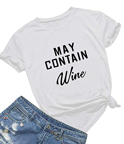 May Contain Wine T Shirt Women' s Letter Print Funny Wine Lovers T-Shirt Short Sleeve Tops (White01, XXL)