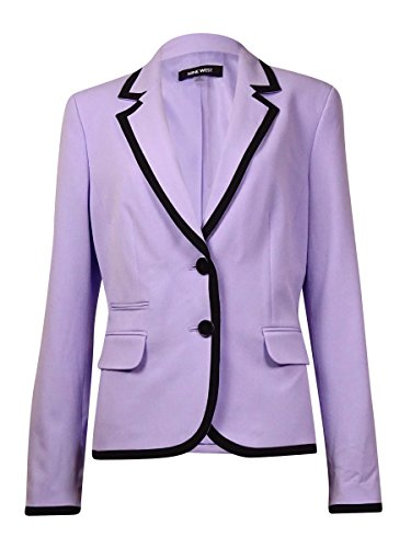 Nine West Women's Contrast Trim Button Front Blazer (10, Lilac/Black)