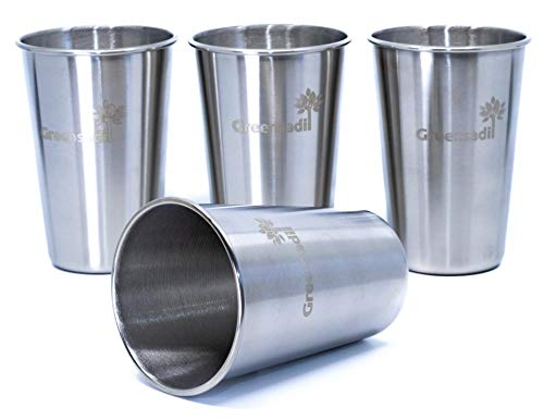 (Greensadi 4 Pack of Stackable Stainless Steel Metal Pint Drinking Tumbler Cup Glasses with 480ml / 16oz Capacity for Kids and Adults)