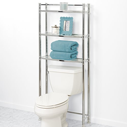 Discount Zenna Home 9035ss 3 Tier Over The Toliet Bathroom Spacesaver Shelf Chrome Glass Sale