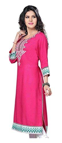 Jayayamala Robe en robe romantique en coton rose et manches brodées pour femmes / Robe habillée / 3/4 tunique manches