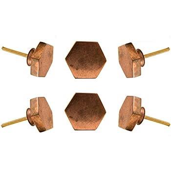 set of 6 hexagonal copper portsoken cabinet knob kitchen cupboard door knobs dressser wardrobe and drawer