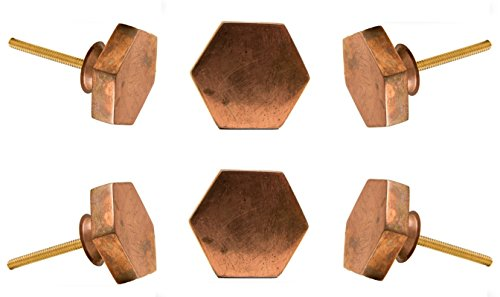 Set of 6 Hexagonal Copper Portsoken Cabinet Drawer Knobs Cupboard Dresser Pull by ()