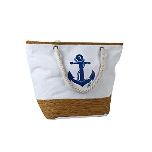 de de de de Blanco bolso bolso vacaciones de impresión de Flada cremallera azul Vintage playa hombro lona Snx5wXqUO