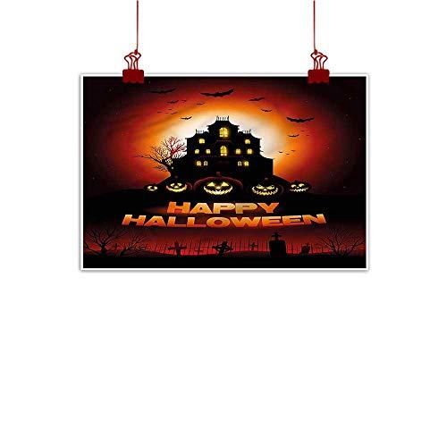 Mangooly Wall Art Painting Print Halloween,Haunted House Flying Bats 36