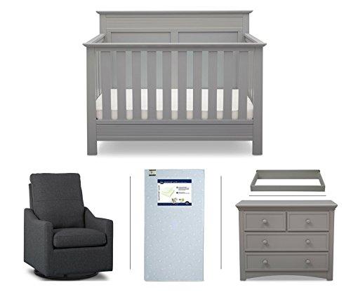 Serta Fall River 5-Piece Nursery Furniture Set (Serta Convertible Crib, 4-Drawer Dresser, Changing Top, Serta Crib Mattress, Glider), Grey/Charcoal