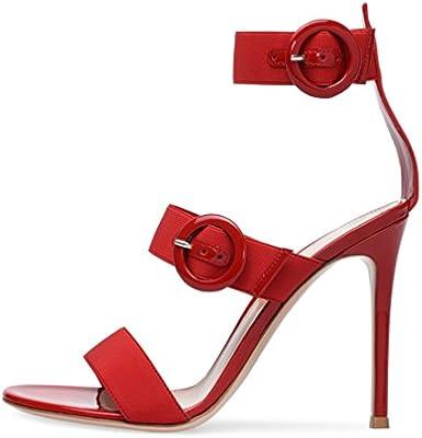 2963f84fe Amazon.com  LUCKY CLOVER-CC Oversized Sandals Court Shoes Women Ladies Stiletto  High Heel Strap Buckle Party Shoes Platform Pumps Sky-High Heels