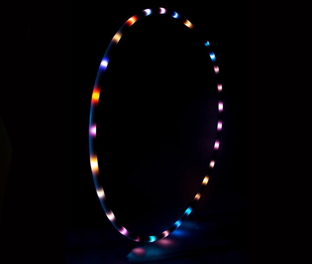 LED Hula Hoop 36'' Multi Color EL Lighting Perfect for Festivals and Rave - 28 Color Changing LED - Plain White No Wrapping