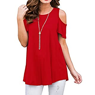 PrinStory Women's Short Sleeve Casual Cold Shoulder Tunic Tops Loose Blouse Shirts Red-US Large