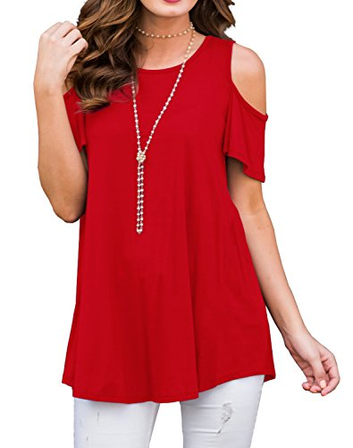 PrinStory Womens Short Sleeve Off Shoulder Round Neck Casual Loose Top Blouse T-Shirt Red- XL