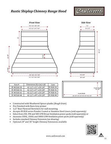 """36"""" Castlewood Rustic Shiplap Chimney Range Hood - White Wash (42-1/2"""" H   37"""" W   20-3/8"""" D) (350 CFM Economy Ventilator/Liner)"""