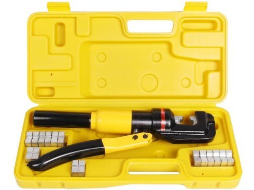 Cable Wire Crimper Tool (TMS 10 Ton Hydraulic Wire Battery Cable Lug Terminal Crimper Crimping Tool 9 Dies)